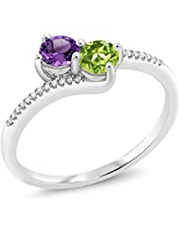 "10K White Gold ""Forever United"" Two-stone Diamond Right-hand Engagement Birthstone Ring Round Purple Amethyst Green Peridot (0.71 cttw)"