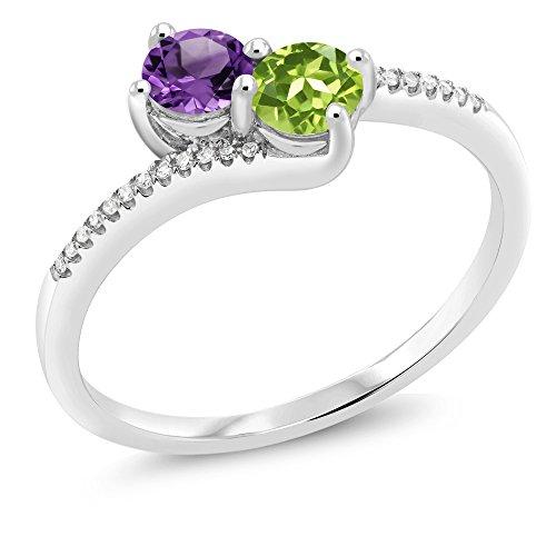 Gem Stone King 10K White Gold inchesForever Unitedinches 2-stone Diamond Right-hand Engagement Birthstone Ring Round Purple Amethyst Green Peridot 0.71 cttw, Engagement Birthstone Ring) (Size 7) ()