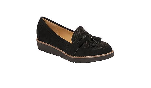 Mujer Look Ante Mocasines Zapatos Vintage De Plataforma para Dama Sin Cordones con Flecos Fiesta: Amazon.es: Zapatos y complementos
