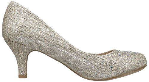 Pleaser Women's Doris06/Nugfa Slide Pump Nude Glitter Mesh Fabric 9lW2EPXulS