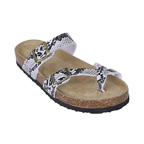 Ermonn Womens Thong Flat Sandals Gladiator Buckle Strappy Cork Sole Summer Slides
