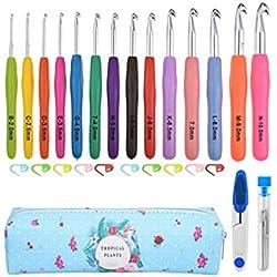 SUPVOX Crochet Hooks Set, 14PCS 2mm(B)-10mm(N) Ergonomic Crochet Hooks Yarn Knitting Needles Kit with Case for Arthritic Hands,Extra Long Crochet Needles