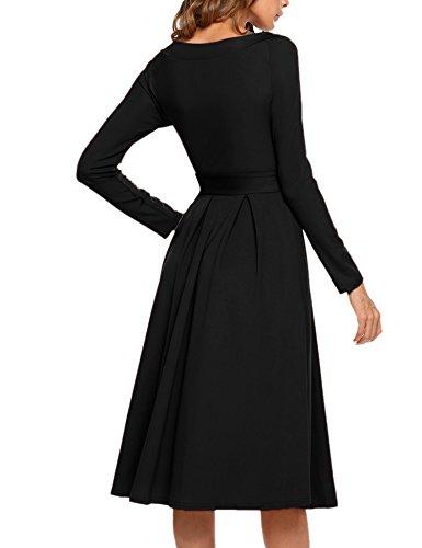 Acevog Au Large Ceinture Swing Robe Midi Manches Longues À Long Épaule Vintage Noir Col V Femmes
