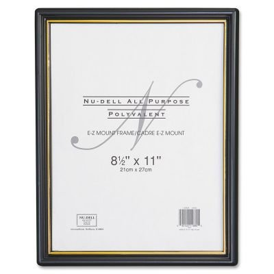 Nudell 11818 EZ Mount Document Frame w/Trim Accent, Plastic, 8-1/2 x 11, Black/Gold, 18/CT