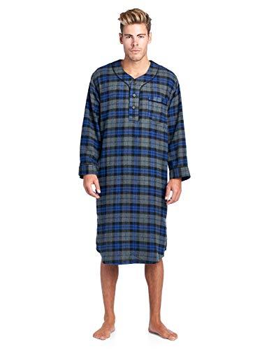 Ashford & Brooks Mens Flannel Plaid Long Sleep Shirt Henley Nightshirt - Grey/Black/Royal - 2X-Large
