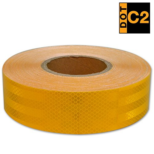 Yellow Jackets Rear Window (KwikSafety DOT C2 Conspicuity PET Reflective Trailer Tape   Automotive Motorcycle Cargo Tractor Trailer Warning Caution Tape   Safety Automotive Light Tape   2