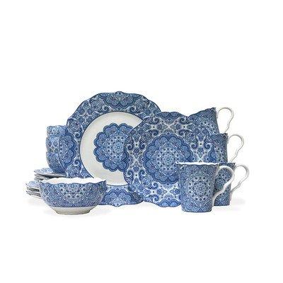 Lyria 16 Piece Dinnerware Set in Blue
