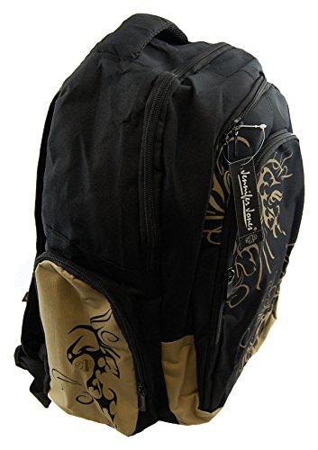 NB24 Sportlicher Rucksack (4012), schwarz mit Muster, ca. 39 x 17 x 47 cm, mit 3 großen Reißverschlussfächern, Damen und Herren Tasche, Schultasche, Schulrucksack, Freizeittasche, Sporttasche
