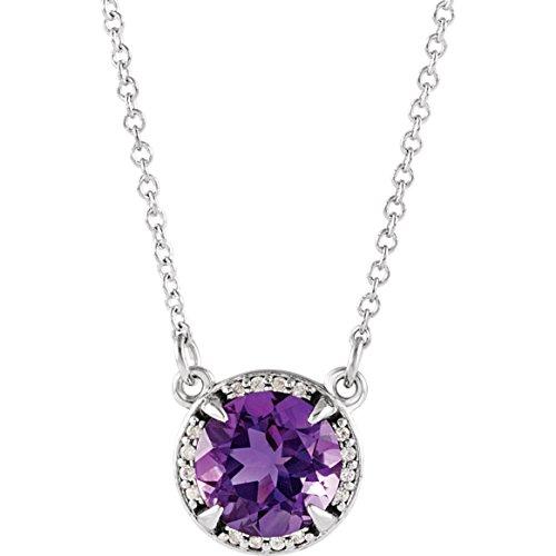 "Bonyak Jewelry Lab-Created Alexandrite 14k Rose Gold 6mm Round Chatham Created Alexandrite & .04 CTW Diamond 16"" Necklace"