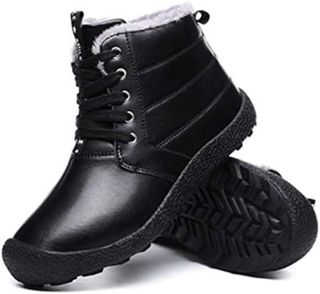 冬のプラスベルベット肥厚屋外の雪のブーツ防水通気性アッパーラウンドヘッド太いアンクルブーツ衝撃吸収ノンスリップゴム靴底コットンブーツ (色 : 黒, サイズ : 28 CM)