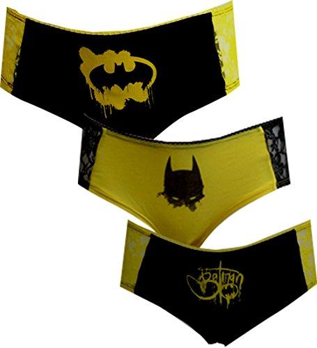 DC Comics Batman 3 Pack Lace Trim Panty Hipster Briefs for women