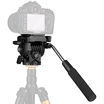 pangshi Video Camera Tripod Action Fluid Drag Pan Head Compatible with Canon Nikon Sony DSLR Camera Camcorder Shooting Filming