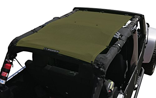 ALIEN SUNSHADE Jeep Wrangler Mesh Shade Top Cover with 10 Year Warranty Provides UV Protection for Your 4-Door JKU (2007-2017) (Tank Green)