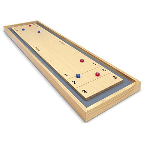 GoSports Shuffleboard and Curling 2 in 1 Table Top Board Game with 8 Rollers - Great for Family Fun (Shuffleboard Equipment)