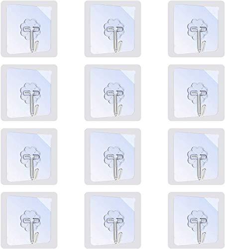 412tUtZecEL 12 Stk. Haken Selbstklebend Handtuchhaken, Max 8kg Klebehaken Transparent Ohne Bohren, Badezimmer Haken für Küche Bad…