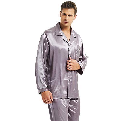 Mens Silk Satin Pajamas Set Sleepwear Loungewear Gray L
