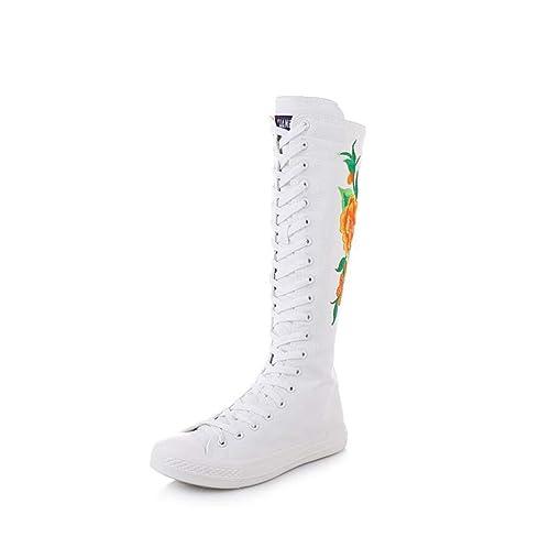 Haut de à Toile Femme Bottes Confortable mogeek Chaussures 5RjAL34