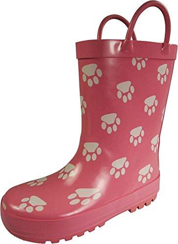 Designer Rain Boots (NORTY Girls Paw Print Waterproof Rainboot, Pink, White 39840-3MUSLittleKid)