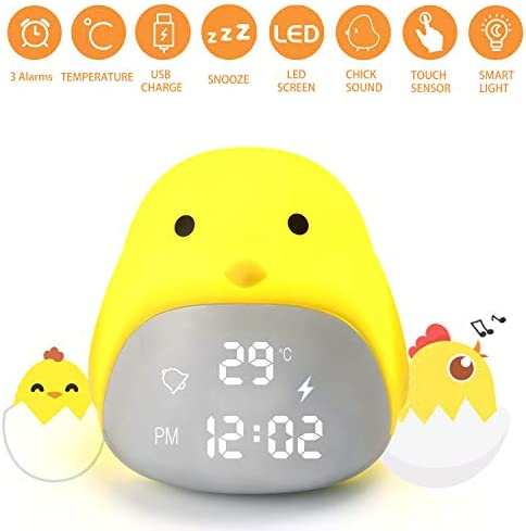 Decent Life Kids Alarm Clock,Cute Night Light,Kids Clock,Alarm Clock for Kids,Temperature Display Alarm