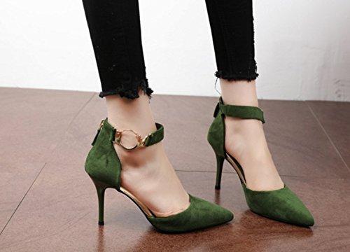 scarpe SFSYDDY top scarpe cintura alto con fine tacco Marea Heeled metallo in cerniera scarpe singolo camoscio green post qqFxE