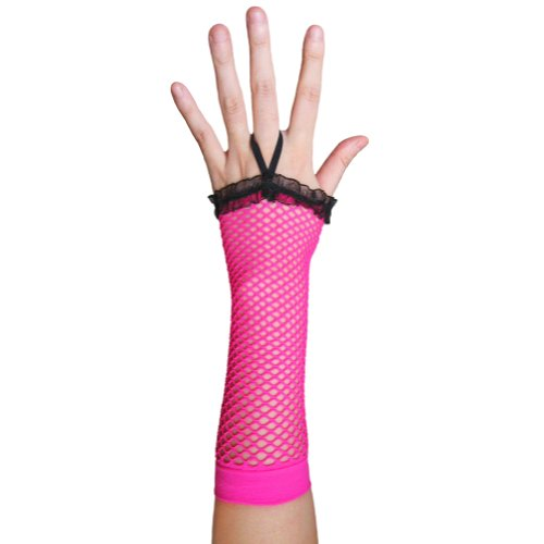 Neon Pink Fingerless Fishnet Gloves with Ruffle ~ Costume Party Accessory (Punk Rocker Girl Halloween Costumes)