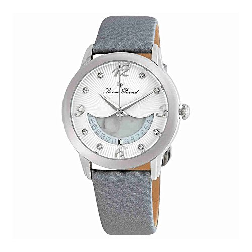 Lucien Piccard Womens Crystal - Lucien Piccard Women's 'Bellaluna' Swiss Quartz Stainless Steel and Leather Casual Watch, Color:Grey (Model: LP-40034-02-SGSS)