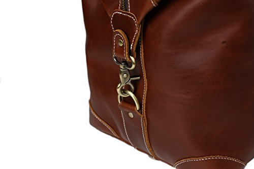 ROCKCOW Reddish Brown Top Grain Leather Travel Duffle Bag Men Shoulder Bag Holdall Bag by ROCKCOW (Image #4)