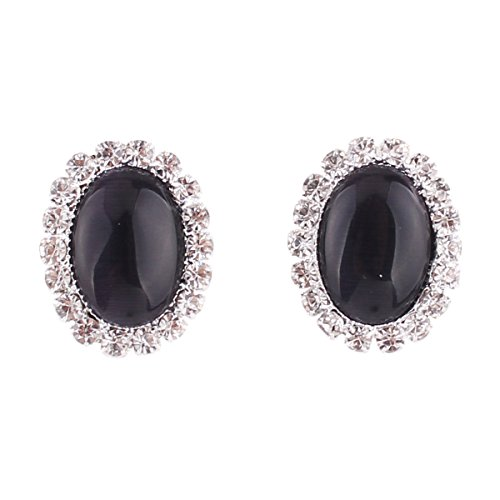 (Bridal Rhinestone Opal Oval Shape Clip on Earrings for Women Charm Jewelry No Hole Ear Clip (Black))