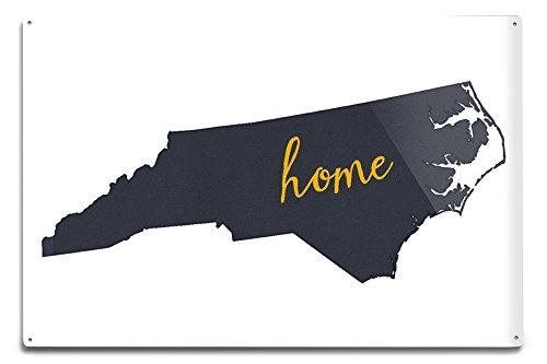 Lantern Press North Carolina - Home State - Gray on White (12x18 Aluminum Wall Sign, Wall Decor Ready to Hang)