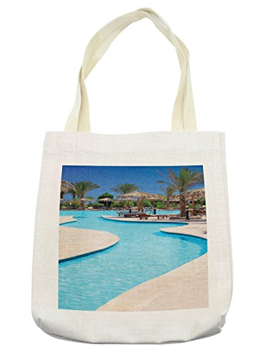 Lunarable Holiday Tote Bag, Swimming Pool of Hotel Resort Relaxation Tourism Vacation Tourist Attractions, Cloth Linen Reusable Bag for Shopping Groceries Books Beach Travel & More, (Tourist Costume Makeup)