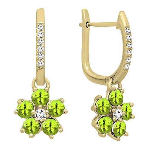 - Dazzlingrock Collection 14K Round Peridot & Diamond Ladies Cluster Flower Dangling Drop Earrings, Yellow Gold