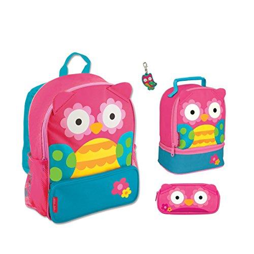 Stephen Joseph Sidekick Owl Backpack  Lunch Box  Pencil Case And Zipper Pull