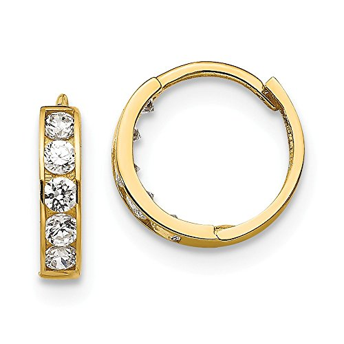 14k Yellow Gold Cubic Zirconia Cz Childrens Hinged Hoop Earrings Ear Hoops Set Fine Jewelry Gifts For Women For Her