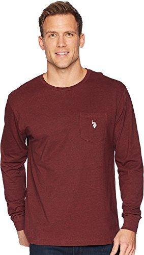 Burgundy Pocket Tee - U.S. Polo Assn. Men's Long Sleeve Crew Neck Pocket T-Shirt, Burgundy Heather, L