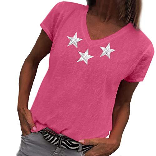 Wave166 Mujeres Verano Camisetas Pullover Casual Estrella ...