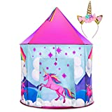 Unicorn Tent for Girls - Unicorn Pop Up Kids Tent w/Unicorn Headband and Case, Unicorn Toys for Girls Indoor Princess Castle Kids Play Tent (Pink)