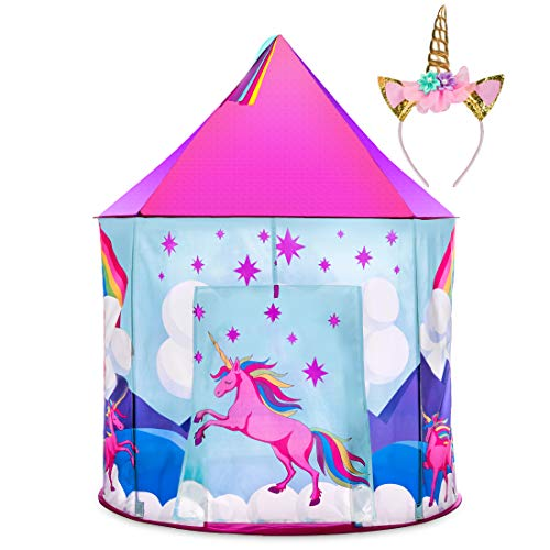 Unicorn Tent for Girls - Unicorn Pop Up Kids Tent w/ Unicorn Headband and Case, Unicorn Toys for Girls Indoor Princess Castle Kids Play Tent (Pink) ()