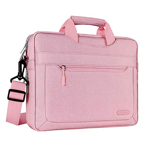 MOSISO Laptop Shoulder Bag Compatible 15-15.6 Inch MacBook Pro, Ultrabook Netbook Tablet with Adjustable Depth at Bottom, Polyester Messenger Briefcase Carrying Handbag Sleeve Case Cover, Pink