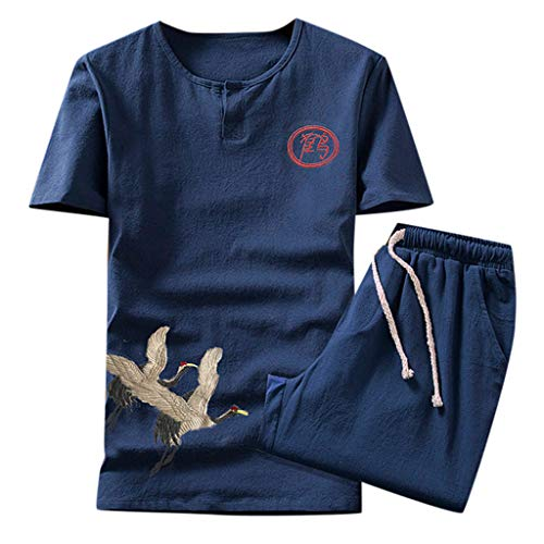 iHPH7 T Shirts Short Sleeve Heavyweight Crew Neck Tee Summer Fashion Casual Printed Suit Men's (XXL,1- Navy) -