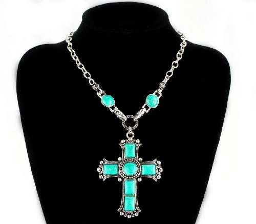 Fti&Wit Turquoise Cross Pendant Vintage Bohemia Silver Tone Necklace Jewelry