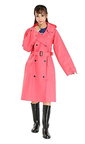 - OVOV Women's Rain Jacket Outdoor Waterproof Packable Raincoat Rain Poncho Rainwear with hood Belt Red