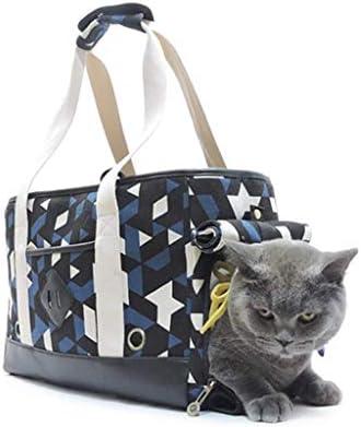 YUMUO Sac à bandoulière Portable Triangulaire transpirable Blanc en Toile Bleu Noir et Blanc adapté aux Petits Chiens et Chats