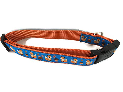 CANINEDESIGN QUALITY DOG COLLARS Autumn Dog Collar, Caninedesign, Fall, 1 inch wide, adjustable, nylon, medium and large (Fox, Medium 13-19'')