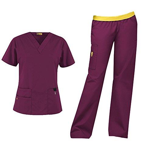 WonderWink Origins Women's Medical Uniforms Scrubs Set Bundle- 6016 Bravo V-Neck Scrub Top & 5016 Quebec Elastic Cargo Scrub Pants & MS Badge Reel (Wine - Small/Small Petite)