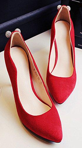 Easemax Mode Féminine Bout Pointu Slip Bas Sur Les Pompes Paillettes Haut Talon Aiguille Chaussures Rouge