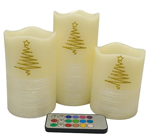 Adoria Gold Glitter Tree Flameless candles with Timer ,Handcarved pearl line decor,set of 3,tall (4' Round Pillar Candle)