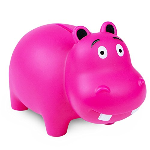 WADDLE Cute Hippo Popular Animal Piggy Bank for Girls Best Durable Drop Resistant Money Coin Holder for Kids, Babies, Infants, and Toddlers Fuchsia Pink | Favorite Unique Baby Gift Idea