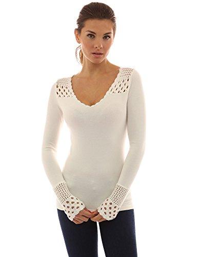 PattyBoutik v inserto Bianco crochet collo sopra maglia occhiello Donne TxZgTS