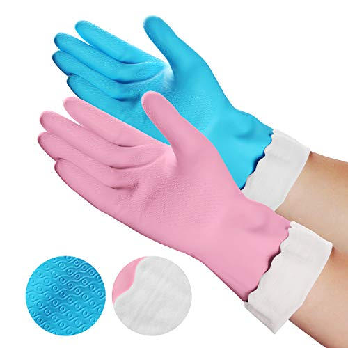 Cleaning Dishwashing Gloves - Household Kitchen Soft Cotton Flock Lining Gloves - 2 Pairs Reusable Waterproof Rubber Gloves(2 Colors, Medium)