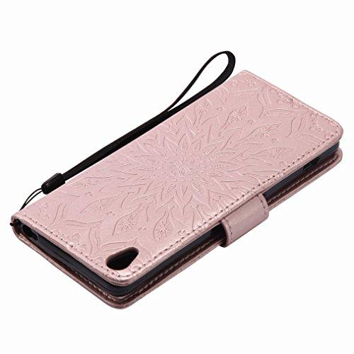 Yiizy Sony Xperia XA Custodia Cover, Sole Petali Design Sottile Flip Portafoglio PU Pelle Cuoio Copertura Shell Case Slot Schede Cavalletto Stile Libro Bumper Protettivo Borsa (delloro della Rosa)